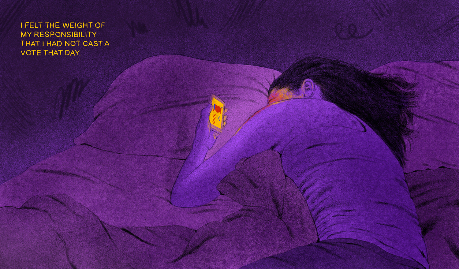"""Illustration of a woman lying on a bed, staring at her phone with a election map. The text on the image reads """"I felt the weight of my responsibility that I had not cast a vote that day."""""""